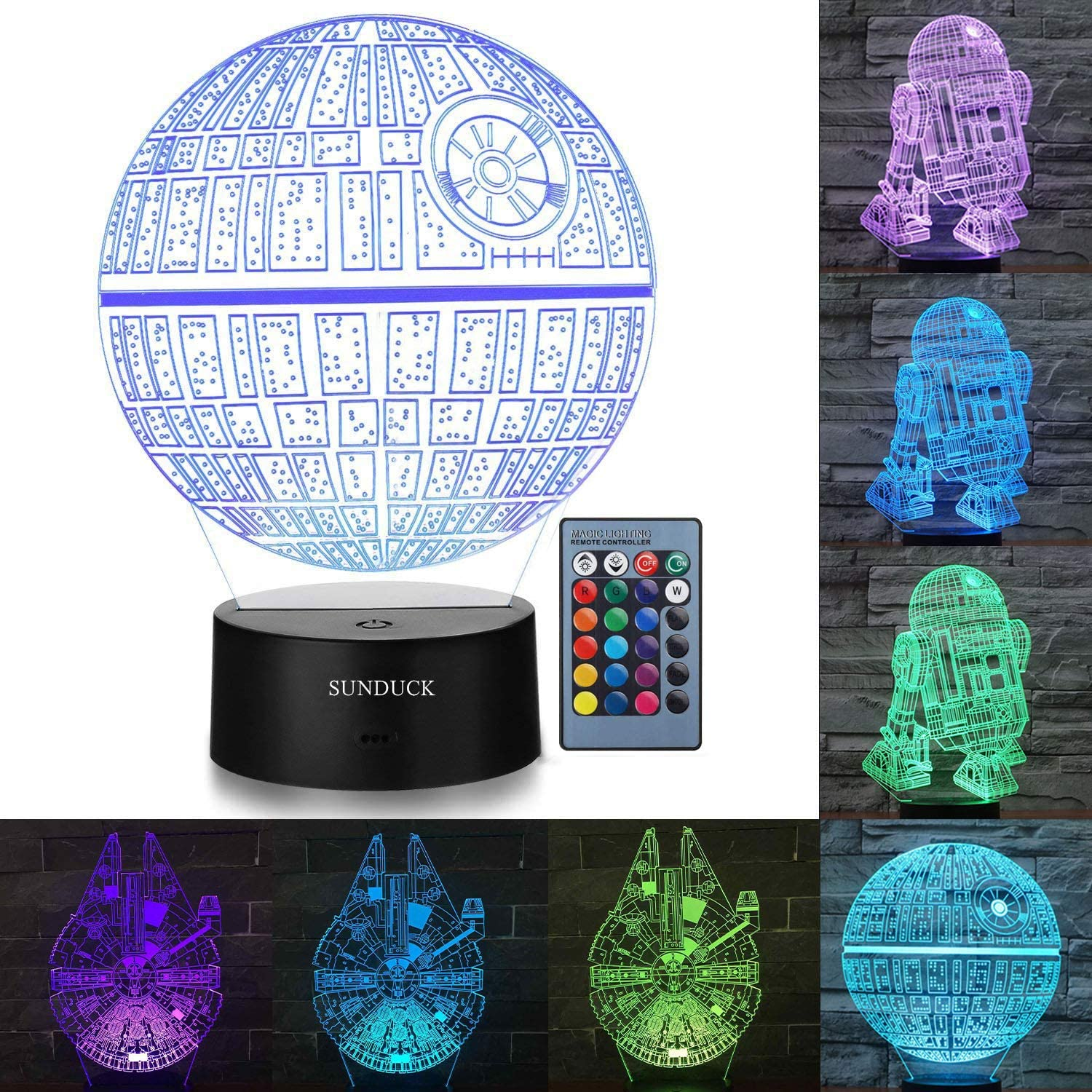 Sunduck 3D Star Wars Night Light for Kids Star Wars Gifts Illusion Lamp Three Pattern and 7 color Change Decor Lamp  Perfect for Star Wars Fans and Kids