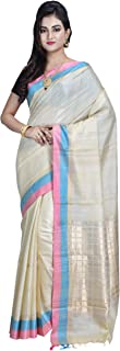 SareesofBengal Women's Handloom Weaved Murshidabad Desi Tussar/Kosa Silk Saree with Blouse Piece (K062, Off-White)