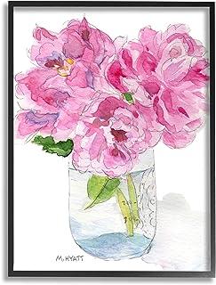 Stupell Industries Pink Peonies in Classic Canning Jar, Design by Melissa Hyatt LLC Black Framed Wall Art, 24 x 30