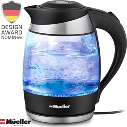 Mueller Premium 1500W Electric Kettle with SpeedBoil Tech, 1.8 Liter Cordless with LED Light, Borosilicate Glass, BPA...
