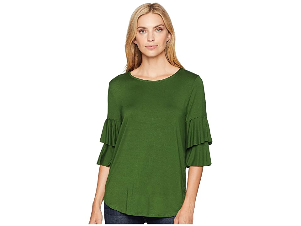 Karen Kane Ruffle Sleeve Top (Vine) Women