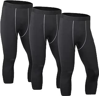 MAGNIVIT Men's Compression 3/4 Tights Legging Capri Pants 3 Packs