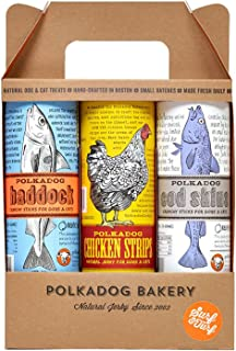 Polka Dog Bakery Surf & Turf 3-Pack, Chicken Strips, Cod Skins And Haddock, Made In Usa