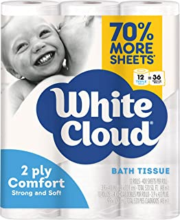 White Cloud Ultra Comfort 2 Ply Toilet Paper, 12 Rolls, 400 Sheets Per Roll