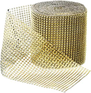Royal Imports Rhinestone Ribbon Diamond Bling Sparkle Wrap Bulk for Event & Party Decorations, Wedding Cake, Bridal Shower, Birthdays, Arts & Crafts 30 Ft, 1 Roll, Gold