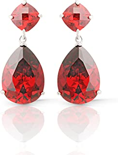d8ed06430 Jankuo Jewelry Rhodium Plated Angelina Jolie Inspired Bridal Prom Garnet  Color CZ Drop Earrings