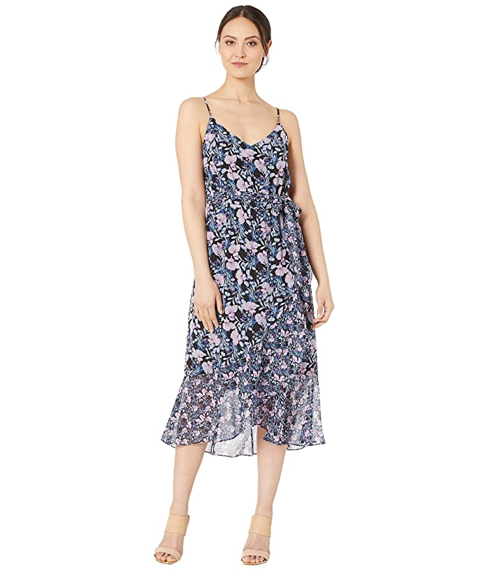 Vince Camuto Charming Floral Ruffle Front Belted Dress (Classic Navy) Women