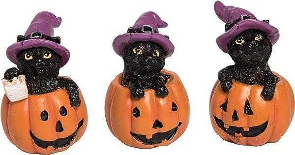 Transpac Imports Inc Mini Kitten In Pumpkin Orange 2 X 2 Resin Stone Halloween Figurines Set Of 3