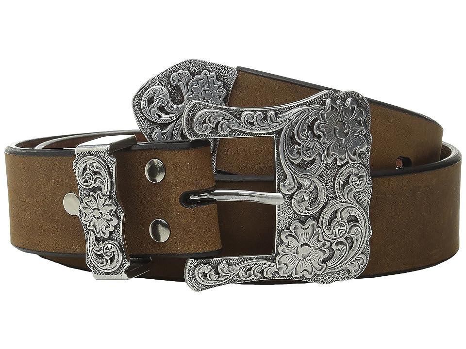 M&F Western Three-Piece Silver Buckle Belt (Brown) Women