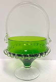 Collectible Vintage Green Fenton Handled Pedestal Candy Dish