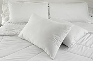 East Coast Bedding 50% White Goose Down + 50% White Goose Feather Contour Bed Pillows – Set of 2 - Hypoallergenic, Hotel Q...