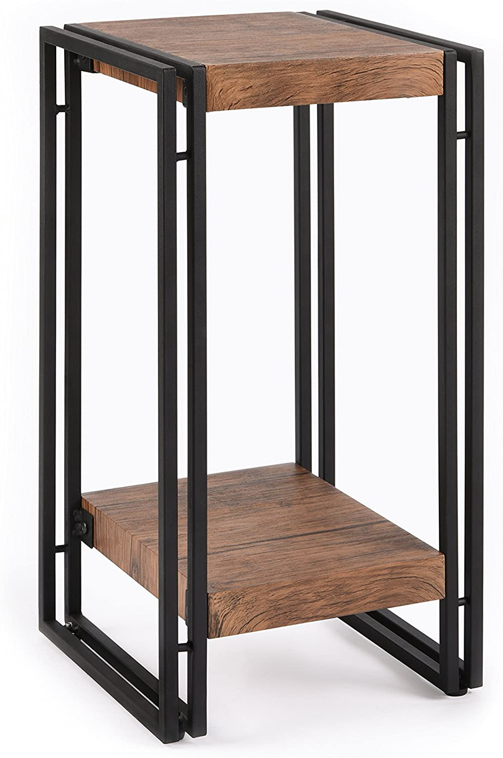 FIVEGIVEN Accent Side Table for Small Spaces End Table for Living Room Bedroom Rustic Industrial Metal, Brown