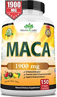 Organic Maca Root Black, Red, Yellow 1900 MG - 150 Vegan Capsules Peruvian Maca Root Gelatinized 100% Pure Non-GMO Support...