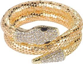 Lux Accessories Gold Tone Rhinestone Curved Stretch Bangle Retro Snake Bracelet