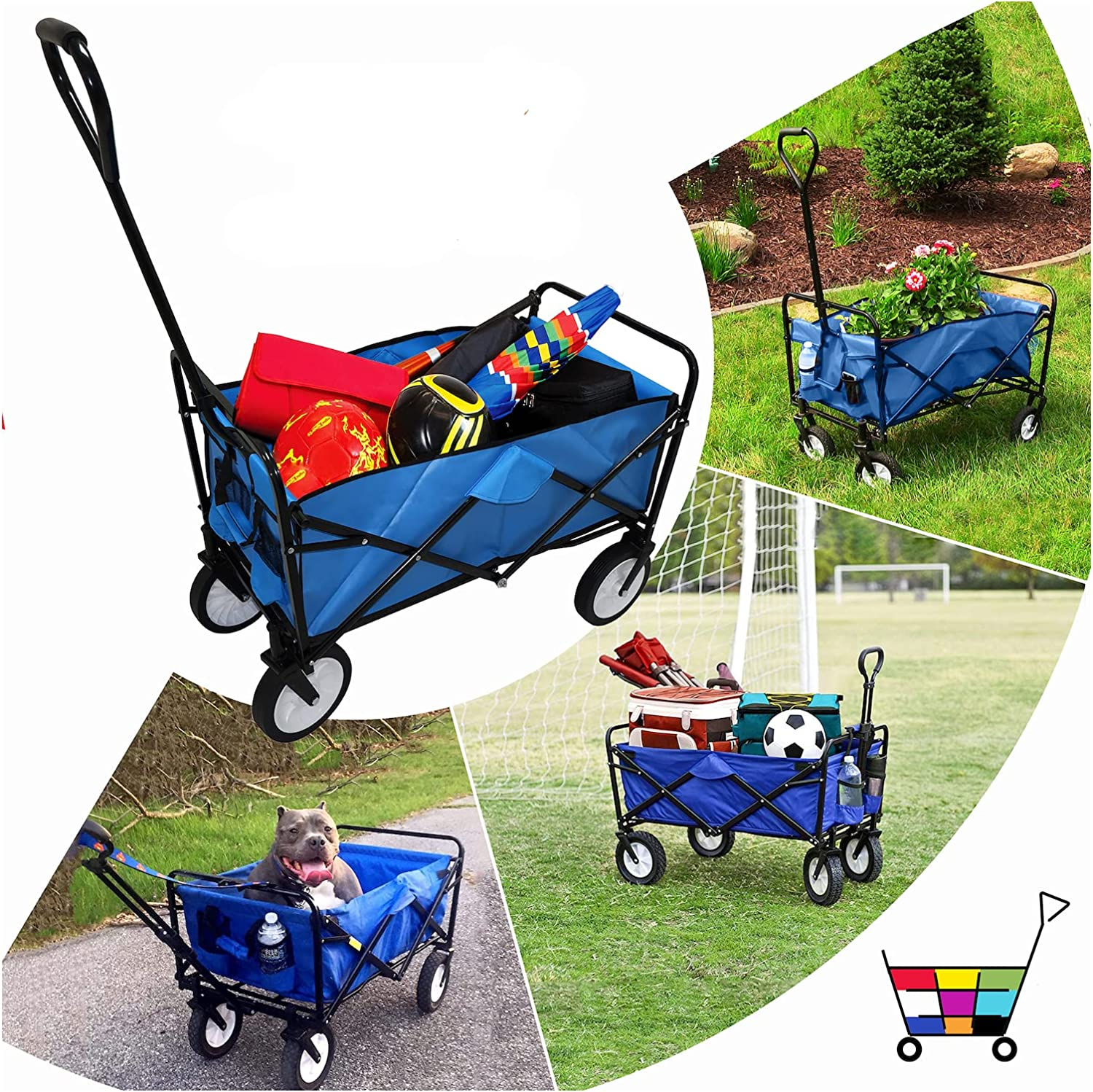 HTTMT- Blue Multifunction Mail order Folding Wagon Wh Price reduction Outdoor Portable Cart