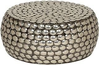 Daisy Modern Textured Iron Coffee Table, Nickel Antique