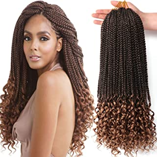 7 Packs 18 Inch Box Braids with Wavy Ends Light Brown Color Synthetic Crochet Braids Box Braid Crochet Hair Extension (18 Inch, T27#)