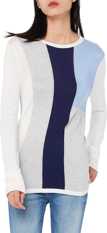 JSTEX Womens Lightweight Thin Spring Knit Pullover Shirt Tops Color Block Crew Neck Soft Sweater