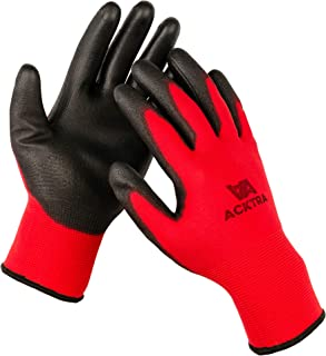 ACKTRA Wholesale Pack of 120 Pairs Ultra-Thin Polyurethane (PU) Coated Nylon Safety WORK GLOVES, Knit Wrist Cuff, for Precision Work, for Men & Women, WG002 (Medium, Red/Black)