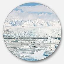 Designart Vatnajokull Glacier in Iceland Landscape Large Metal wall Art (Disc of 23), 23 x 23, Blue/White