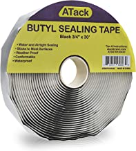 ATack Black Butyl Seal Tape 1/8-Inch x 3/4-Inch x 30-Foot Leak Proof Putty Tape for RV Repair, Window, Boat Sealing, Glass and EDPM Rubber Roof Patching