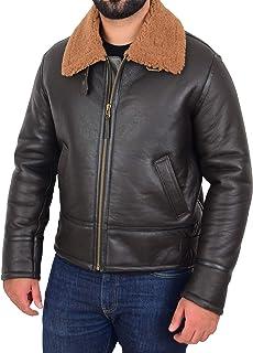 Mens B3 Original Sheepskin Jacket Pilot Top Gun Aviator Style Oscar Brown Ginger