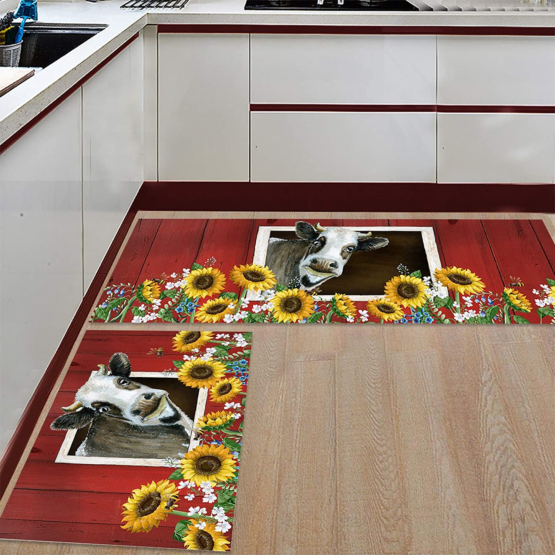 BestLives Kitchen Rug Set of 2 Cheap mail order specialty store Farmhouse Sunflower Piece Fl Cow Regular discount