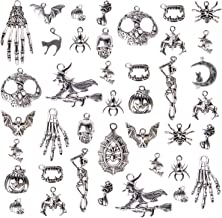 Halloween Charms, Korlon 300 Grams (About 165-171 Pcs) Halloween Silver Pendants Craft Supplies Halloween Jewelry Making Accessory for DIY Necklace, Bracelet and More
