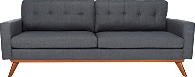Safavieh Couture Home Gneiss Mid-Century Modern Slate Grey and Dark Brown Tufted Sofa