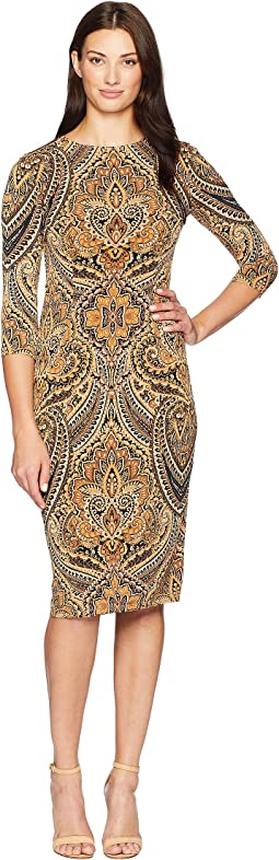 Feather Scroll 3/4 Sleeve Fitted Dress