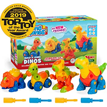 3 Pack Take Apart Toys with Tools and 3 Pack Bonus Realistic Dinosaur Figures Preschool Learning Toys for Boys Kids Age 3 4 and 5+ Years Old EIAIA Dinosaur Toys STEM Building Toys