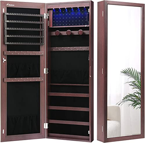 Nicetree 6 LEDs Jewelry Armoire Organizer, Wall/Door Mounted Jewelry Cabinet with Full Length Mirror, Larger Capacity...