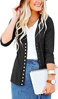 Women's S-3XL Solid Button Front Knitwears 3/4 Sleeve Casual Cardigans