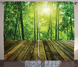 Ambesonne Tropical Curtains, Wooden Planks and Bamboo Forest Morning Sun Rays Nature Landscape, Living Room Bedroom Window...