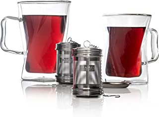 Double Wall Glass Tea Cup With Infuser, Keeps your drink hot,Tea Set,Coffee Cup,Tea Infuser Mug,2 Glass Mugs For Hot Beverages,Tea Infuser Cup,Great idea for Gifts for Women Silicon Lid & Infuser