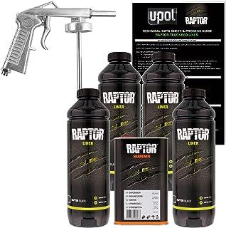 U-Pol Raptor Black Urethane Spray-On Truck Bed Liner Kit w/Free Spray Gun, 4 Liters