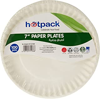 Hotpack Paper Plate 7 Inches, 100 Pieces