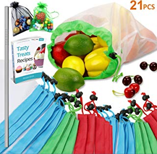 Reusable Produce Bags, 21PCS - 18 Washable Mesh Bag, 2 Mini Bag, 1 Metal Straw, with Eco Friendly Toy Fruit Vegetable Produce Bags with Drawstrings for Home Shopping Grocery Storage - 3 Various Sizes