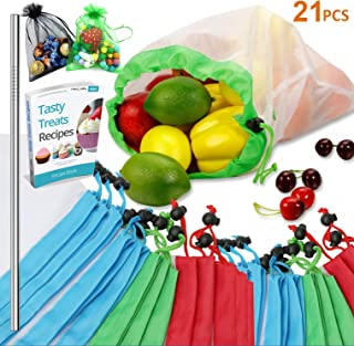 SPECIAL OFFER Reusable Produce Bags, 21PCS -18 Washable Mesh Bag, 2 Mini Bag, 1 Metal Straw, with Eco Friendly Toy Fruit Vegetable Produce Bags with Drawstrings for Home Shopping Grocery - 3 Various S