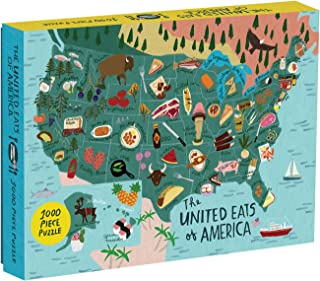 Galison United Eats of America 1000 Piece Jigsaw Puzzle for Adults, United States Puzzle with Foods from Across The Country