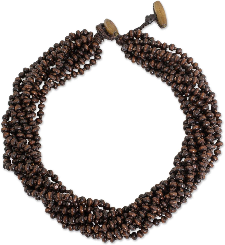 NOVICA Brown Multi-Strand Beaded Wood Torsade Necklace 'Sukhothai Belle', 18