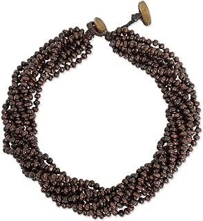 Brown Multi-Strand Beaded Wood Torsade Necklace 'Sukhothai Belle', 18