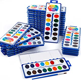 16 Colors Watercolor Paint Set Bulk, Pack of 24, Shuttle Art Watercolor Paint Set with Paint Brushes for Kids and Adults, ...