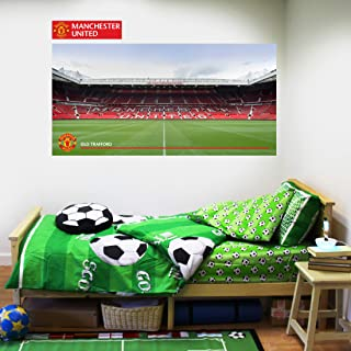 Beautiful Game Ltd Manchester United Football Club Official Old Trafford Stadium Wall Sticker + Man Utd Logo Decal Set Vinyl Poster Print Mural Art (60cm)