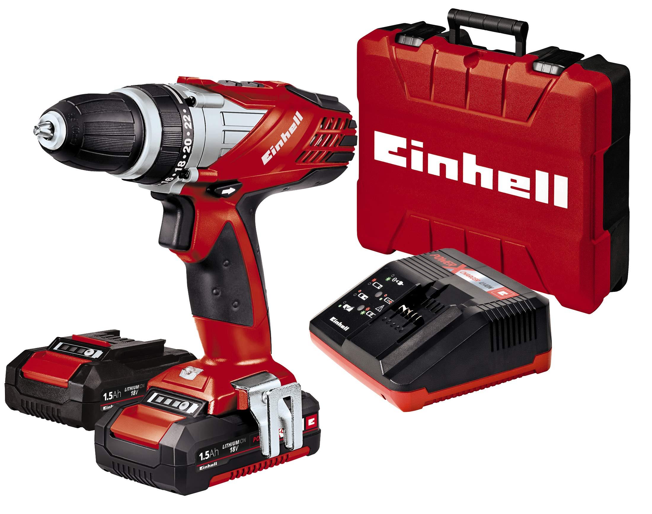 Einhell Expert TE-CD 18 Li - Taladro sin cable (incluye maletín Bmc, 2 baterías de 1,5 Ah, familia Power X-Change, luz LED): Amazon.es: Bricolaje y herramientas