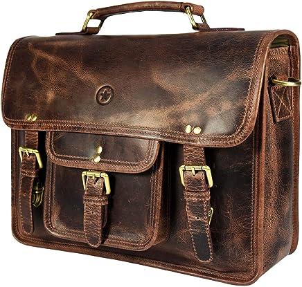 15 inch Vintage Leather Messenger Satchel Bag   Briefcase Laptop Messenger Bag by Aaron Leather (