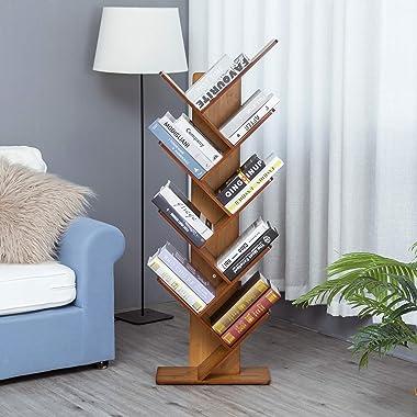C&AHOME 9-Shelf Tree Bookshelf, Bamboo Bookcase, Book Rack, Storage Shelf Rack in Living Room, Free-Standing Books Holder