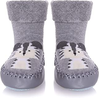 SCOWAY Baby Boys Girls Toddlers Slippers Cute Animal Moccasins Soft Cozy Non-Skid Indoor House Home Slipper Winter Warm Shoes Socks 6-24 Months