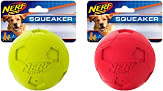 Nerf Dog (2-Pack) Soccer Squeak Ball Dog Toy, Red/Green, Large