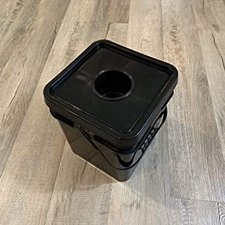 5 Pack - Hydroponic 5 Gallon Square Bucket with Cover and 4